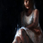 Oil Painting on wood of a woman on a dark background
