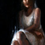Oil painting on wood of a woman in a white dress