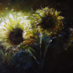 Oil painting and Mixed media of sunflowers in a dark background.