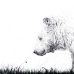 Black and white drawing of a little girl looking at a Bear